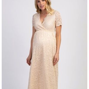 PINKBLUSH IVORY LACEOVERLAY WRAP MATERNITY DRESS S